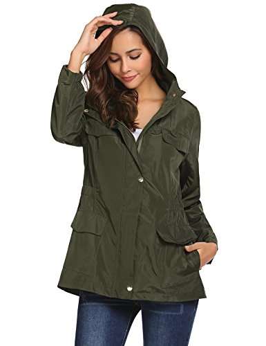 Pinspark Women's Waterproof Raincoat with Hoodie Green Cargo Jacket Lightweight Windbreaker ()