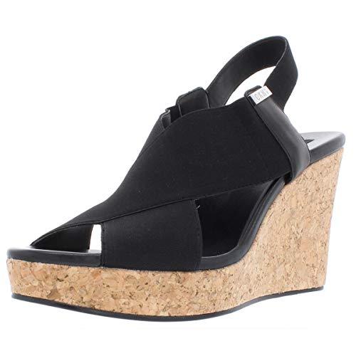 DKNY Womens Jamara Leather Slingback Wedge Sandals Black 8.5 Medium (B,M)