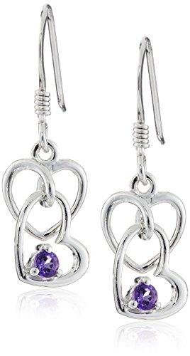 Amethyst Heart Dangle Earrings in Sterling Silver
