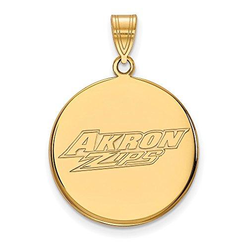 14k Yellow Gold LogoArt Official Licensed Collegiate University of Akron (UA) Large Disc Pendant by Logo Art