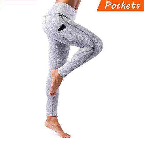 KT Sports Yoga Leggings, Gym Workout Pants Fitness Mesh Leggings for Women (Light Gray, Small)