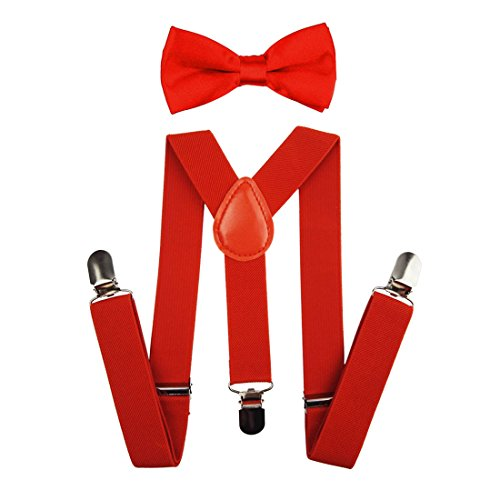 - Suspenders Set for Kids, Polyester Material Y-Shape with 3 Clips (Red)