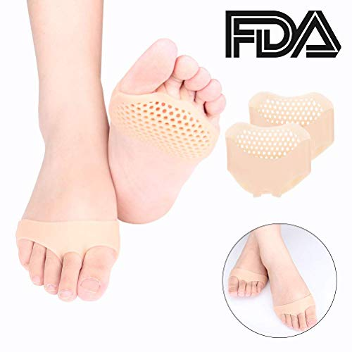 Aiteya Metatarsal Pads Ball of Foot Cushions for Women or Men 1PAIR Soft Gel Ball of Foot Pads ortons Neuroma Callus Metatarsal Foot Pain Relief Bunion Forefoot Cushioning Relief - Skin Color