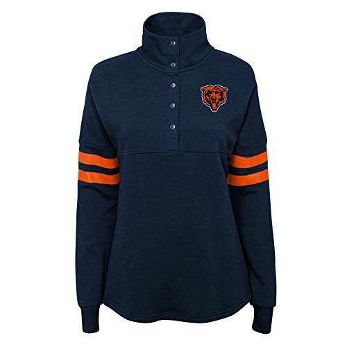 NFL by Outerstuff NFL Chicago Bears Juniors Classic Throw Varsity 1/4 Snap Pullover Top Deep Obsidian, Juniors X-Small(0-1)