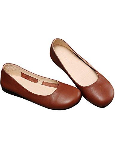 Zoulee Kvinna Nya Läderhandgjorda Flats Skor Balett Platta Skor Brun