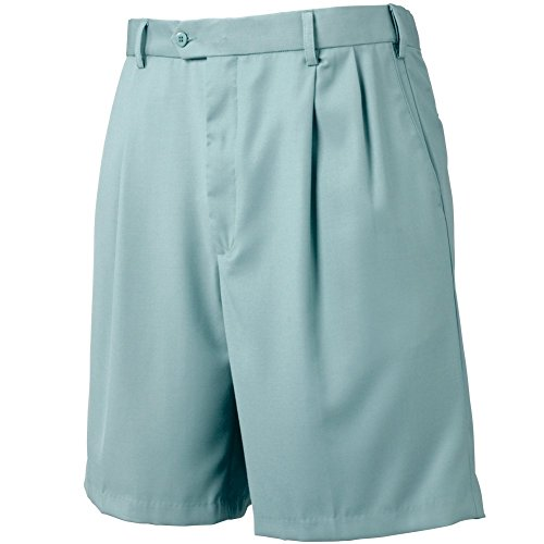Bocaccio Mens Pleated Expandable Waistband Shorts Light Blue 40 by Bocaccio