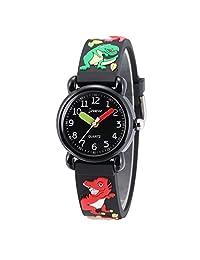 Children Kids Toddler Watches Time Teacher Watches, Cartoon Character 3D Silicone Band Watches (Dinosaur Black2)