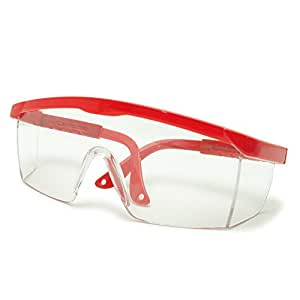 Grinigh Polycorbonate Safety Glasses with Red Frame | Lab or Medical Protective Goggles, Clear Lens Color (Pack of 2)