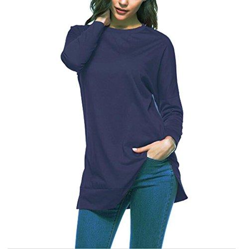 Manches femme Chemisier Blue Longues Longues Chemise Deep Basique Et Manches Femme l'automne T shirt Manches QHDZ longue Longues BwSngnZ