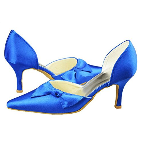 Pumps Prom Blue Fashion Wedding MZ1193 Evening Formal Satin Kevin Pointed Party Bridal Women's Shoes Toe 7wHZ6xqP