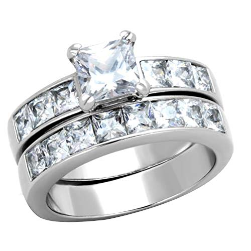 FlameReflection Stainless Steel Princess Cut Wedding Ring Sets For Women CZ Bridal Jewelry Size 5-11 SPJ