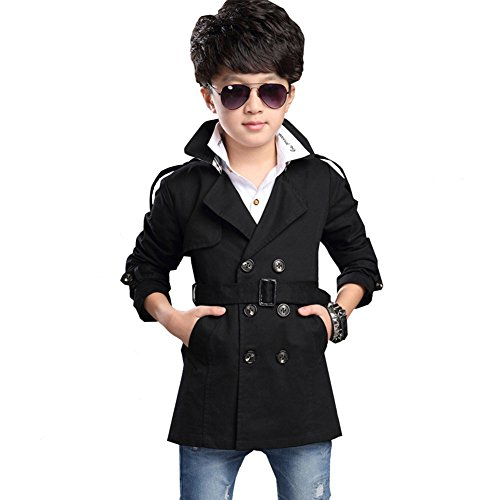 3 4 Length Coats - LSERVER Boys Long Sleeve Double Breasted V-Neck Trench Coat Middle Length Windbreaker Jacket Black 6-10T