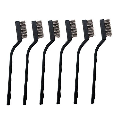 6 Pieces Mini Stainless Steel Wire Brush Set for Cleaning Welding Slag and Rust -