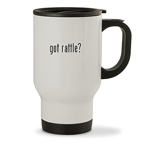 got rattle? - 14oz Sturdy Stainless Steel Travel Mug, White (Bla Bla Rattle)