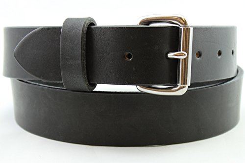 Heavy Duty Black Stainless Men's Leather Belt Full Grain Gun Work Hand Made USA 1.25 and 1.5 Inch (Filson Leather Belt compare prices)