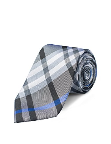 Striped Silk Skinny Tie (Origin Ties Men's Tartan Plaid with Striped Silk Skinny Tie)