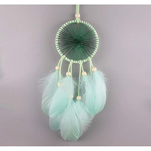 MXJJSPD Dream Catcher,Exquisite Vintage Handmade Weaving Bohemian Dream Catcher Mint Green Feathers Wind Chime Wall Hanging Vintage Craft for Car Pendant Bedroom Home Decoration Creative Gift