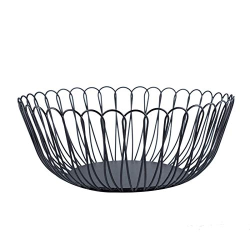 FanDuo Metal Wire Fruit Basket - Kitchen Countertop Fruit Bowl Vegetable Holder Decorative Stand for Bread, Snacks, Households Items Storage (black)