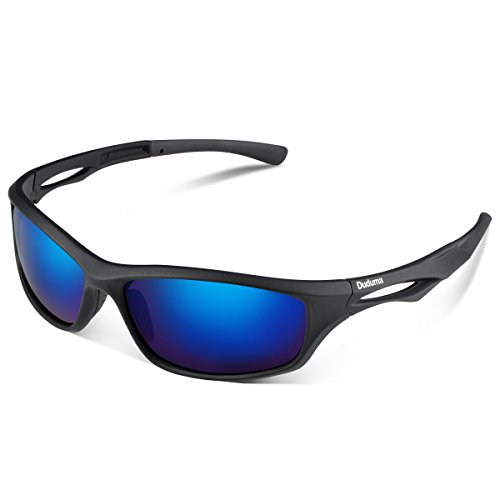 Duduma Polarized Sports Sunglasses for Running Cycling Fishing Golf Tr90 Unbreakable Frame (black matte frame with blue - Sunglass Dimensions