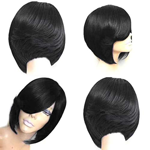 Type Straight Shackles (150% Density Wig Hair Europe and America Ladies Fashion Realistic Natural High Temperature Silk Short Straight Hair Wig,C)