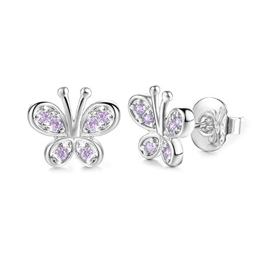 Kingsin Silver Butterfly Stud Earrings For Women Girls With Swarovski Pink Crystal Cubic Zirconia Safe Small Sparkling White Gold Plated Jewelry ()
