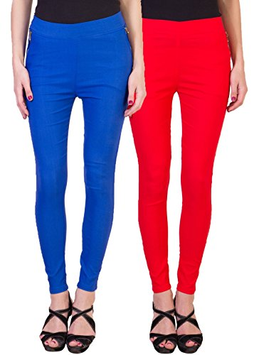 2DAYS STYLISH WOMEN JEGGING ROYAL BLUE/RED  PACK OF 2