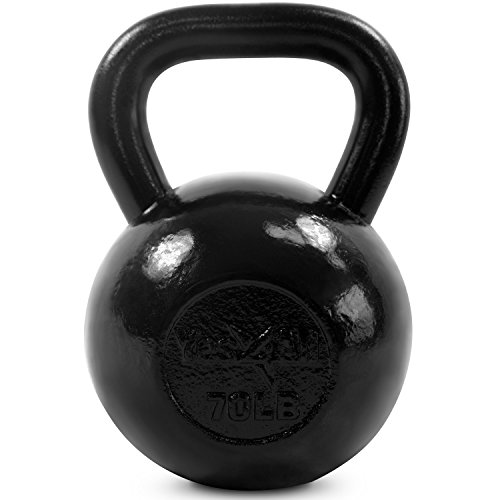 Yes4All Solid Cast Iron Kettlebells – Weight Available: 5, 10, 15, 20, 25 to 80 lbs (Q - Black 70lb)