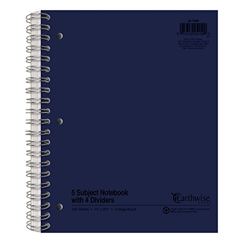 Earthwise by Oxford Recycled 5-Subject Notebook, 8-1/2