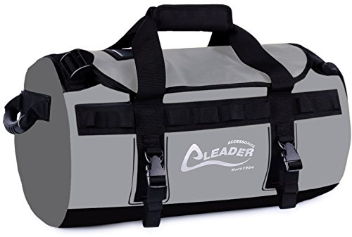Leader Accessories Deluxe Water Resistant PVC Tarpaulin Duffel Bag Backpack (Grey, 90L)