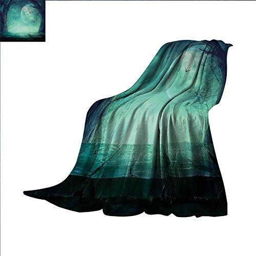 smallbeefly Halloween Digital Printing Blanket Spooky Teal Forest Moon and Vain Branches Mystical Haunted Horror Rustic Imagery Print Summer Quilt Comforter 90