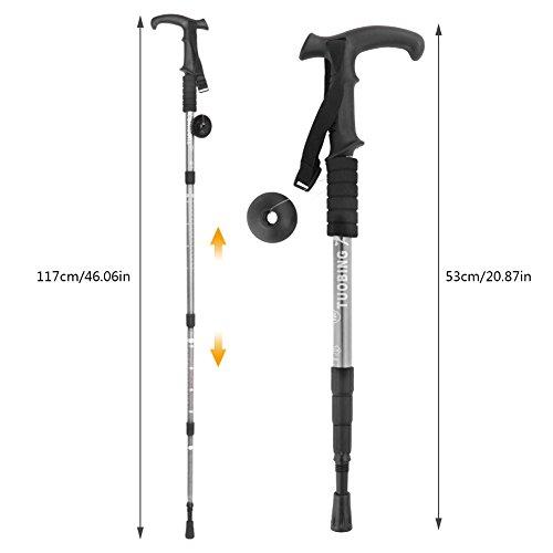 Hiking Stick(2 Packs) PAMISO T-shape Trekking Hiking Sticks Poles Alpenstock Adjustable telescoping Anti Shock Nordic Walking mountaineering (Silver)