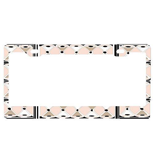 GqutiyulUCOOL License Plate Frame for Women Men, 1920s Pink Champagne Deco Monogram Letter J Custom License Plate Frames with Chrome Screw Caps - 2 Holes