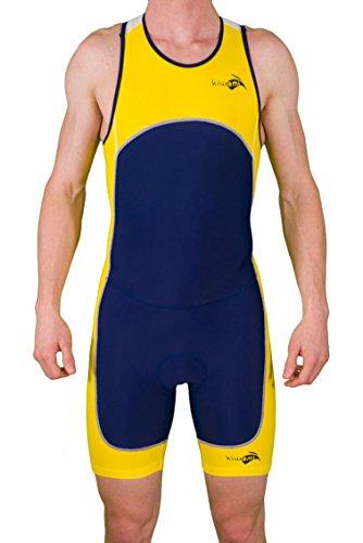 Kiwami Men's Prima Race Trisuit (Navy, Yellow, - Men Trisuit