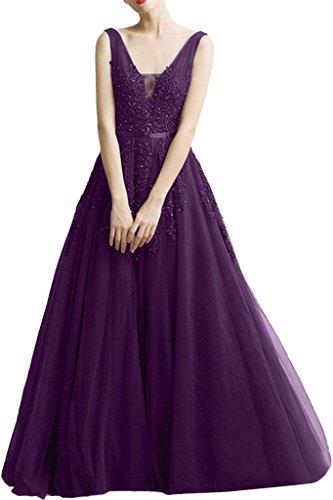 Bride Band V Violett Applikation Milano Lang Promkleider Tuell Spitze Ballkleider Damen Huebsch Abendkleid Ausschnitt fagwwdBqx6