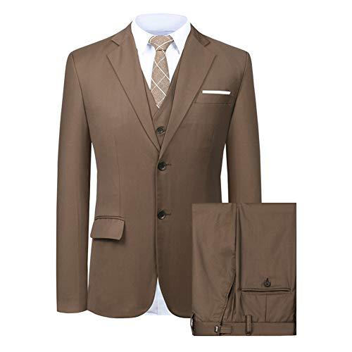 Men's Suit 3 Piece Busines Classic Solid Regular Fit Blazer Coat Vest Pants Set(Deep Brown,38)