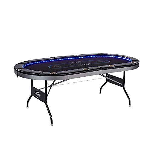 Lancaster 10 Player Poker Game Table with Cup Holders, LED Lights ()