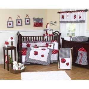 Sweet Jojo Designs Red and White Ladybug Polka Dot Girls Children's Lamp Shade (Bug Lamp Lady)
