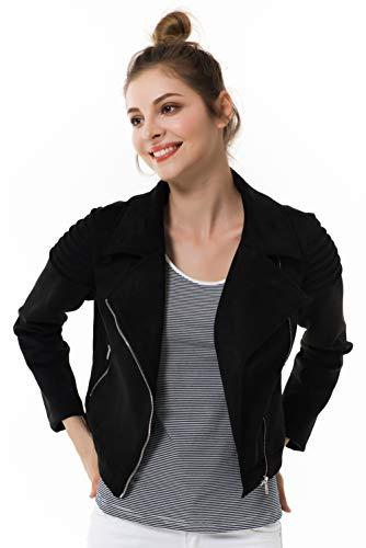 Apperloth Women's Slim Faux Leather Moto Biker Zipper Short Coat Jacket by Apperloth A