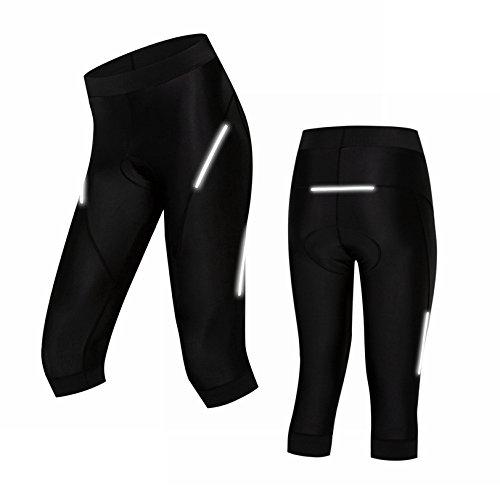 - Weimomokey 3/4 Cycling Pants 3D Padded Capri Pants Cycling Shorts Women Breathable Cycling Tights Black M