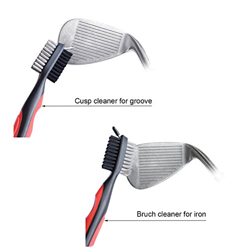 Golf Club Brush and Club Groove Cleaner with Retractable Zip Line Aluminum Carabiner, Golf Ball Line Liner Marker Template Drawing Alignment Tool by BSL (Image #4)