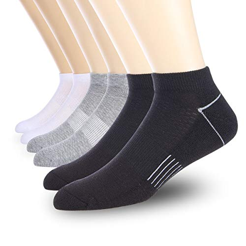 COOVAN Mens 6P Pack Athletic Low Cut Socks Men Ankle Casual Cushioned Running Sock With Moisture Wicking – Sports Center Store