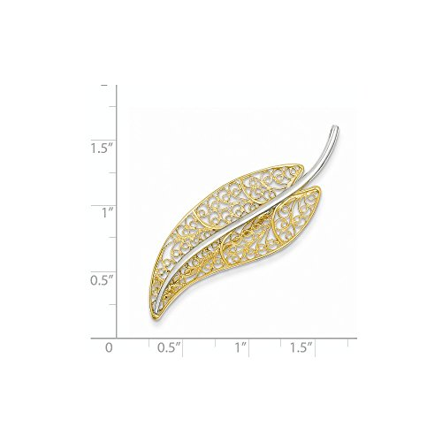 14k Gold Two-Tone Gold Filigree Leaf Pin by Mia Diamonds and Co. (Image #1)