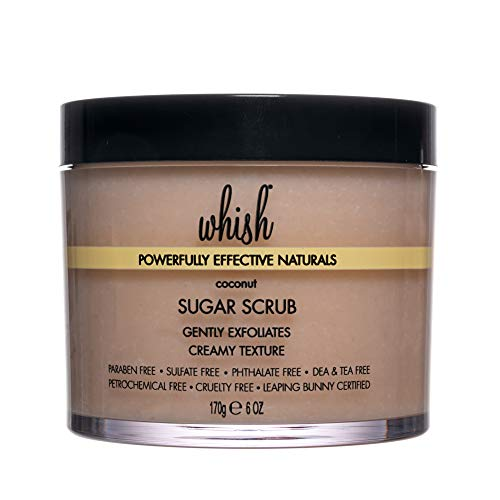 Whish Coconut Sugar Scrub - Exfoliating Scrub, Skin Moisturizer, Shea Butter with Aloe Body Scrub, Natural and Organic Skin Care, 6 oz