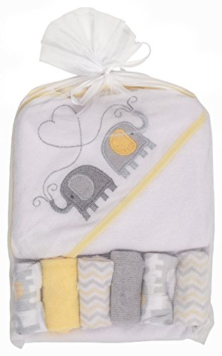 Large Product Image of Little Beginnings Elephant Print Hooded Towel and Washcloths Gift Set, Yellow