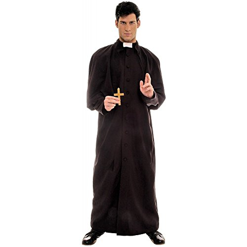 [Underwraps Men's Plus-Size Deluxe Priest, Black/White, XX-Large] (Priest Halloween Costume Deluxe)