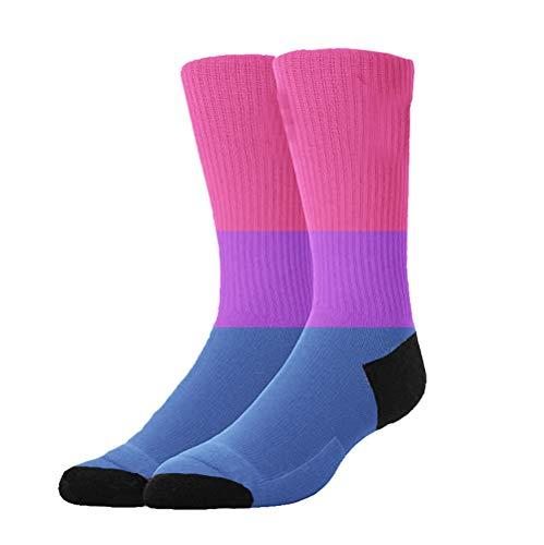 Boys Girls Crazy Funny Bisexual Pride Flag Crew Socks Cute Novelty Cotton Dress Socks -
