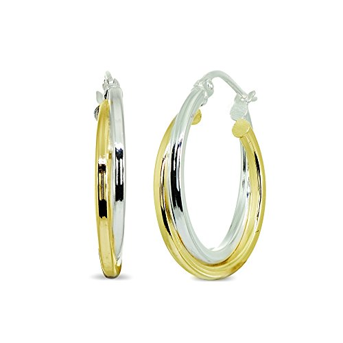 LOVVE Sterling Silver Two-Tone Double Layer Polished Round Click-Top 1