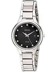 Seiko Womens Diamond Dial Dress Quartz Stainless Steel Casual Watch, Color:Silver-Toned (Model: SUT317)