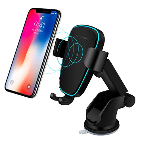 Wireless Car Charger, Fast 10W Wireless Charging Car Mount Gravity Linkage Air Vent Phone Holder for iPhone X/8/8 Plus, Samsung Galaxy Note 8/5,S8+,S7,S6 Edge+,Compatible with All Qi-Enabled (Black) by Eleay