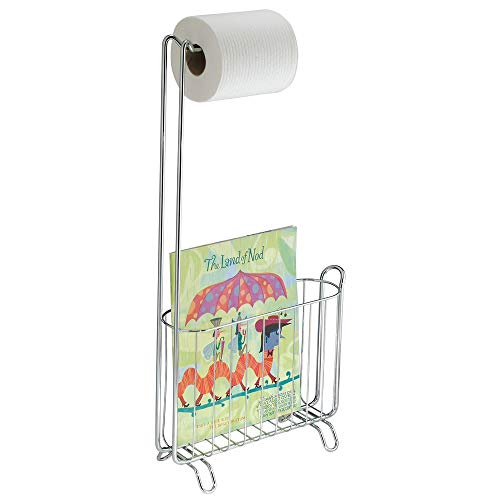 iDesign Classico Free Standing Metal Toilet Paper Holder and Magazine Rack for Master, Guest, Kid